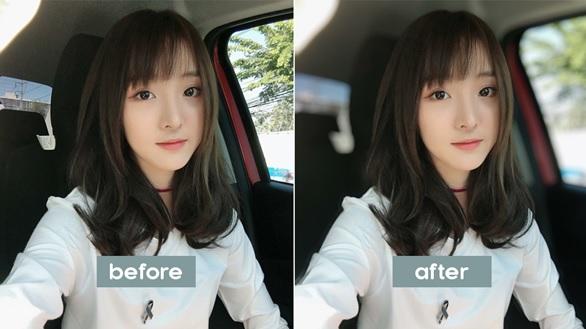 trước và sau khi chụp xóa phông